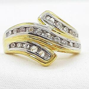 Genuine .50ctw H-SI Diamond 14K Yellow Gold 925 Sterling Silver Cocktail Ring