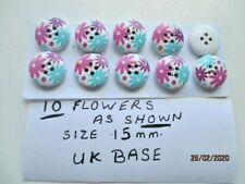 BUTTONS Pretty flowers size 15 mm  AS SHOWN