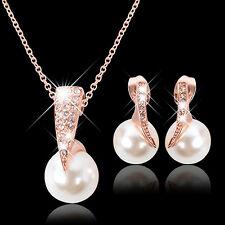 Wedding Jewelry Set Bride Crystal Faux Pearl Pendant Necklace Earrings Steady