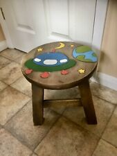 Childs Wooden Stool Chair. Solid Hardwood Stool , Spaceship Top