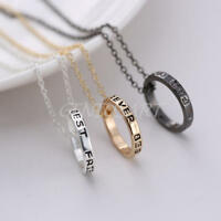 New BFF Gold Rings Best Friend Forever Set Pendants 3 Necklace Friendship Ring