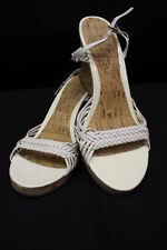 White Patent Leather CORK Wedge Heels, Open Toe, Leather Braided Straps, 7M (1)