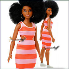 Barbie Fashionistas Doll, Curvy Body Type  With Stripe Cut-Out Dress FREE SHIP