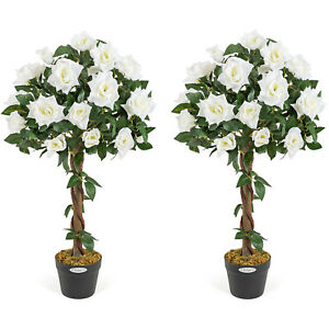 2 Artificial Rose Trees Potted Indoor Outdoor Wedding Flower Decoration Christow