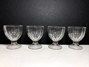 "Set Of 4 Vintage Clear Glass Paneled Egg Cups Holders ""D"" Mark On Bottom EUC"