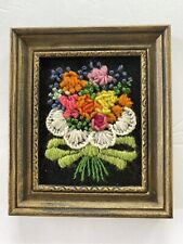 Vintage Knitt Floral Arrangement Hanging Picture, Wall Hanging, Pink, Yellow,