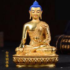 "6"" Antique Tibet Buddhist copper gilt hand painting Sakyamuni Buddha statue"