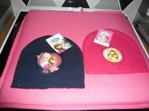 girls 2x disney beanie hats one size blue and pink
