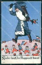 WWI WW1 German Propaganda Humor Anti French Santa Claus HOLES postcard XF3601