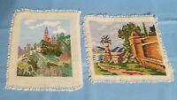 Vintage Tapestry/gobelin Needlepoint, Handmade Finish (set of 2)