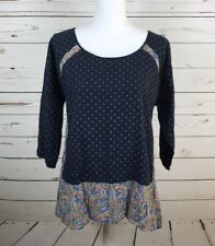 Women's Juniors Hem & Thread Blue Patterned Boho Blouse Size Large L