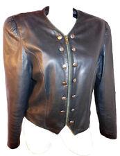 C&A Womens Vtg Punk Rock Vamp Leather Military Goth Black Blazer Jacket sz M F32