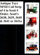 Antique Toys MNH Coil Strip of 4 in Scott # Order Sc 3638 3639 3640 & 3641 3641a
