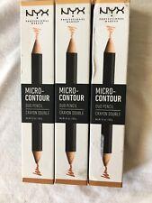 NYX Micro Contour Duo Pencil Lot Of 3 Crayon Double MCDP02 Medium NIB Face Lips