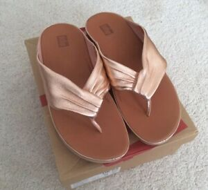 Ladies Fitflop Twiss Rose Gold Leather Toe Thong Sandals UK6 New In Box