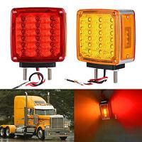Square Double Stud Mount Pedestal Cab Fender Face Turn Signal Light 39 LED Truck