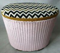 Lloyd Loom Lusty Oval Shaped Pink Laundry Basket Upcycled Zig Zag Fabric 1930s