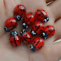 20PCs Ladybug Glass Lampwork Spacers Beads 12x10mm For DIY Jewelry Making