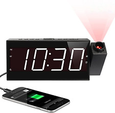 Projection Digital Alarm Clock for Ceiling,Wall,Bedroom - Fm Radio,7� Large Numb