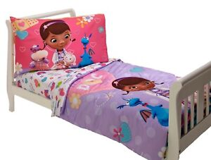 4 pcs Disney Junior Doc Mcstuffins Doc is In Crib Toddler Girl Bedding Set
