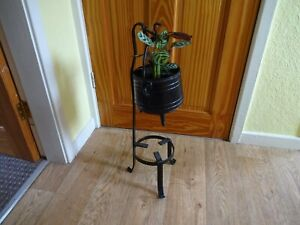 Vintage Wrought Iron Display Planter Stand with Cauldfron Height 60 cm x 20 cm