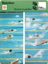FICHE CARD: Breaststroke Brasse Butterfly stroke  Papillion SWIMMING 1970s
