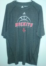 rockets in red basketball adidas climalite on grey t-shirt sz xl 100% polyester