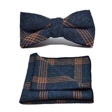 Denim Blue & Orange Birdseye Check Bow Tie & Pocket Square / Handkerchief Set