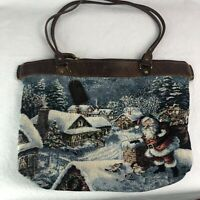 Down Home Leather Christmas Purse Santa Tote Holiday Handbag