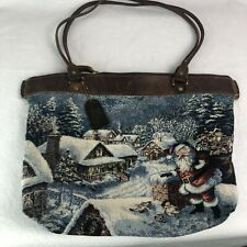 Down Home Leather Christmas Purse Santa Tote Holiday Handbag