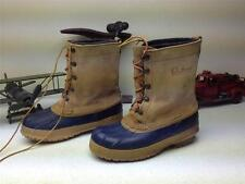 VINTAGE USA MADE BLUE RUBBER BLOND LEATHER DISTRESSED L.L. BEAN DUCK BOOTS 8 C