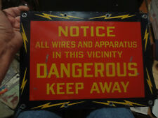 """"""" DANGEROUS KEEP AWAY """" HIGH VOLTAGE METAL SIGN  USED BY ELECTRIC COMPANIES"""