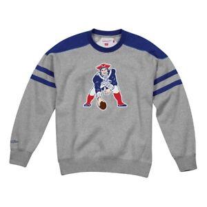 New England Patriots NFL Mitchell & Ness Post Season Run Crew  Grey Sweatshirt