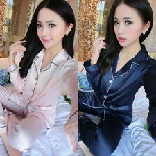 Men Women Satin Silk Pajamas Set Long Sleeve Shirt + Pants Couples Sleepwear H46