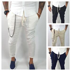 Pantalone Uomo Lino Fasce Capri Primaverile tasche americane catena Casual s,m,l