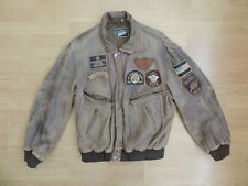Men's Vintage Distressed Leather Bomber Jacket USA Sheriff Patches R9-20