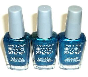 3 WET N WILD Wild Shine Nail Polish Nail Color BIJOU BLUE 443D New