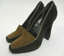 Donna Karan Collection loafer courts stitch detail brown & tan suede 36 UK4 US6