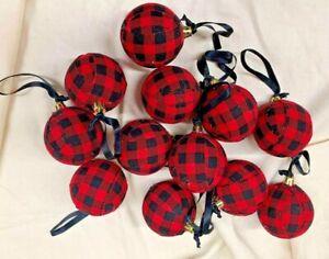Black-Red Buffalo Plaid/Primitive/Farmhouse/Christmas Balls/Set of 12