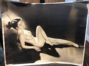 "1920's 30's Original Female Nude Woman Art Deco Silver Gelatin Photo 16""x20"""