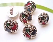 30pcs Round Enamel Buttons Silver Multi-color Craft Sewing Lady Dress Coat 16mm