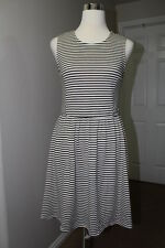 NEW Poema Women's Medium Black White Stripes Sleeveless Fit & Flare Dress