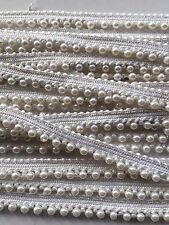 ATTRACTIVE INDIAN SMALL WHITE PEARL BEADS on WHITE LACE TRIM  - SOLD by METRE