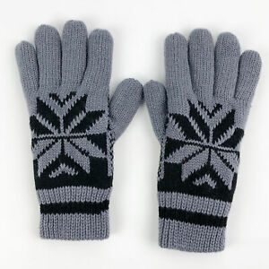 Men's Winter Gloves Snowflake Star Knit Gray Black Knitted Lined 100% Acrylic