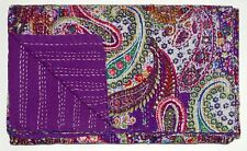 Indian Purple Paisley Kantha Quilt Bedspread Queen Size Blanket Reversible Throw