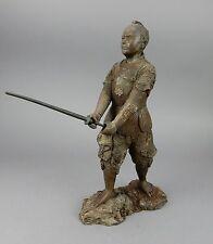 Antique 19th century Japanese intricate Bronze Samurai Statue 16.5 inches