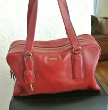 FOSSIL Red Leather Satchel Hobo Shopper Shoulder Purse Bag
