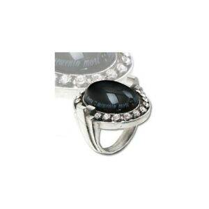 Alchemy Gothic Mori Noir Ring Black Stone Pewter Swarovski Art Deco Alt Size T