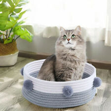 Round Cat Bed Basket Nest Cotton Rope Woven Pet Sleeping Bed House Nesting Rest