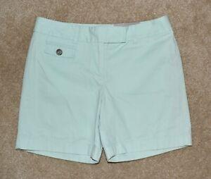 New Womens Ann Taylor Sz 0 Shorts Signature Green Cotton Khaki Chino